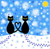 Winter background with cats silhouettes and falling snow — Vector de stock
