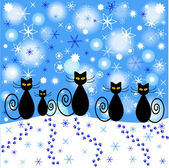 Winter background with cats silhouettes and falling snow — Wektor stockowy