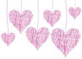 Pembe kalpler sketch vektör Sevgililer konseptiyle — Stok Vektör