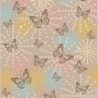 Vintage background with butterflies and flowers — Stock Vector