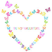 Romantic valentine butterflies heart with place for your text — Stock Vector