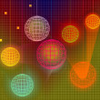 Abstract color disco background with lighting balls — Stock Photo