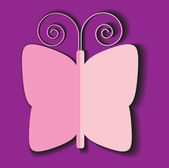 Romantic color illustration with paper butterfly isolated on colorful background — Stock Vector