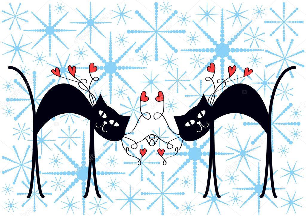 Fondo de Navidad coloridos dibujos animados con par de gatos y de nieve que cae\u2014 Vector de pizla09