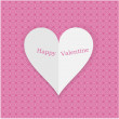 Vintage valentine background with pink paper heart isolated on wallpaper — Stock Vector