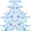 Merry christmas background with snow flakes tree — Stock Vector