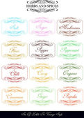 Set of vintage herbs and spices labels — Stock Vector