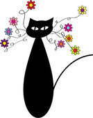 Funny vector cartoon cat and flowers — Stock Vector