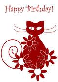 Funny vector cartoon cat and flowers — Vetorial Stock