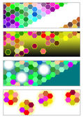 Set of modern banners with bright hexagons — Vector de stock