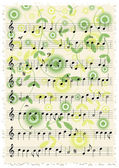 Vintage music notes with floral ornaments — Stockvector
