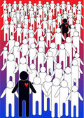 Vector illustration of crowd of people silhouettes — Stock Vector