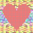 Modern vector valentine heart made of red pixels — Stock Vector