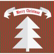 Merry christmas design with paper tree and ribbon isolated on retro striped background — Stock Vector