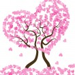 Romantic vector pink valentine hearts tree — Stock Vector