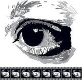 Black and white pop art eye — Stock Vector