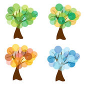 Set of vector four seasons trees — Stock Vector