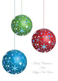 Merry christmas vector background with colorful glass balls — Stock Vector