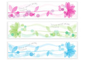 Set of decorative banners with romantic flowers — Stock Vector