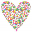 Vector valentine heart made of flowers — Stock Vector