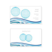 Visiting card design with grid earth globe — Stock Vector