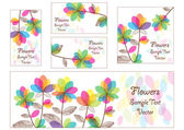 Set of vector cards and banners with flowers — Stock Vector