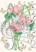 Vintage music notes sheet with flying butterflies and lilly flowers — Stock Photo
