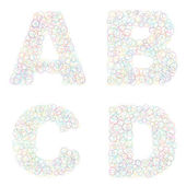 Set of alphabet letters made of circles — Stock Vector