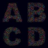 Alfabe harfleri çevrelerinde yapılan bir dizi — Stok Vektör