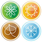Set of web buttons with seasons icons — Stock Vector