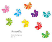 Color vector paper butterflies — Stock Vector
