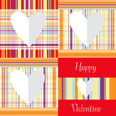 Valentine card design with paper hearts on linen background — Stock Vector