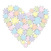 Vector origami paper flowers heart — Vettoriale Stock