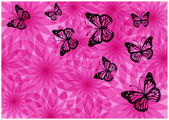 Romantic vintage butterflies silhouettes and pink flowers — Vector de stock