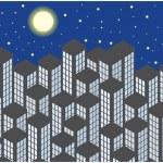 Color vector skyscrapers by night — Stock Vector #50861377