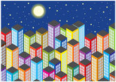 Color vector skyscrapers by night — Vettoriale Stock
