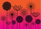 Black vintage flowers silhouettes — Stock Vector
