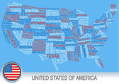 United states of america map made of words — Stock Vector