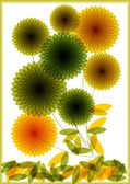 Illustrazione vettoriale di fiori trasparenti — Vettoriale Stock