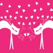 Vector valentine card with cats and hearts — Stock Vector #51155177