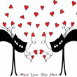 Vector valentine card with cats and hearts — Stock Vector #51155239