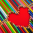 Heart, color pencils — Stock Photo