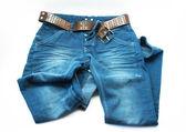 Pantalón jeans azul sobre blanco — Foto de Stock