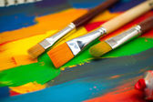Art paints, palette, brushes — Stock Photo