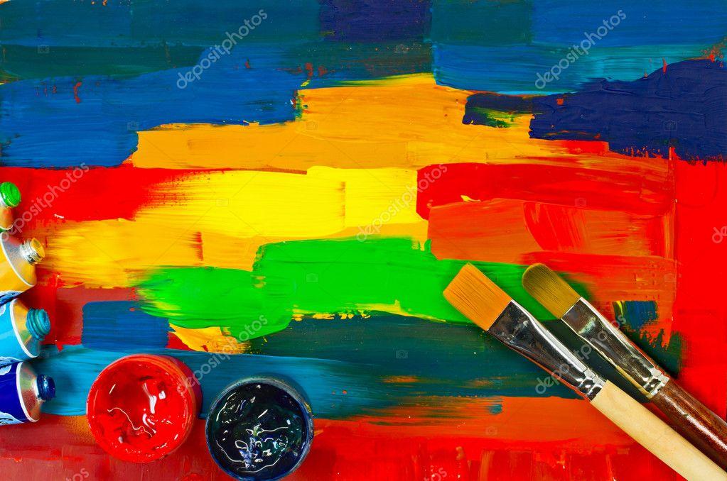Arte pinturas paleta pinceles foto de stock 23756705 - Paleta de pinturas ...