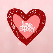 Love story, heart — Stock Vector