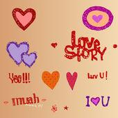 I love You, hearts — Stock Vector