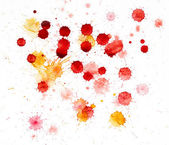 Red and yellow blots of watercolor paint — Stock Photo
