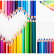 Color pencils heart and envelope    — Stok fotoğraf
