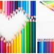 Color pencils heart and envelope — Stock Photo #30454715